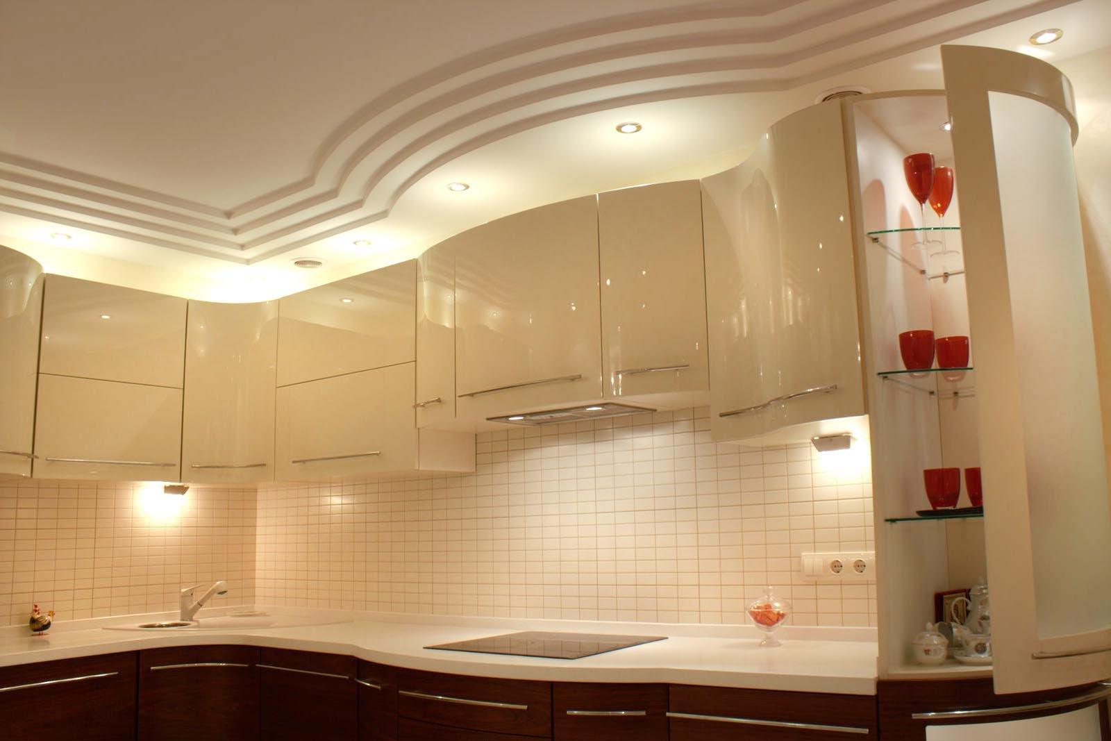 Потолок на кухню из гипсокартона своими руками фото